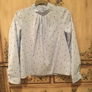 Blue stars high neck blouse